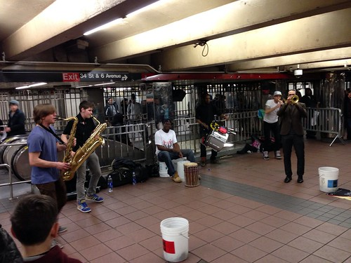 Subway musicians, jamming
