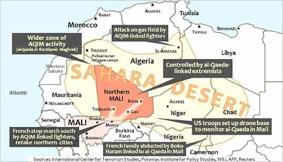 Map of areas where imperialism is launching invasions, occupations and drone stations in North and West Africa. The Pentagon and NATO are escalating their involvement on the continent. by Pan-African News Wire File Photos