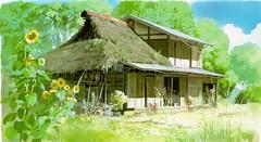 thatching(1.0), farm(1.0), village(1.0), building(1.0), hut(1.0), farmhouse(1.0), shack(1.0), cottage(1.0), house(1.0), log cabin(1.0), home(1.0), rural area(1.0),