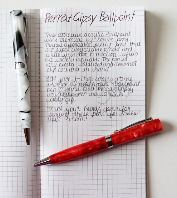 Perraz Gipsy Ballpoint Pens & Banditapple Writing Sample