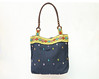 Tribal Navy Blue Folk Woven Ethnic Embroidery Handbag Shoulder Tote Bag Shopping Bag