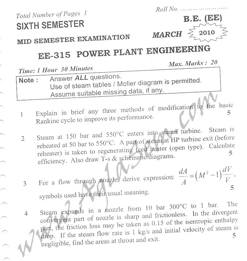DTU Question Papers 2010 – 6 Semester - Mid Sem - EE-315