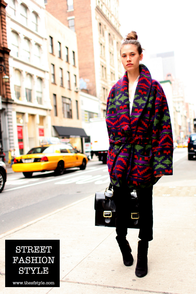 oversized, tribal print, shawl, coat, bright color, satchel, new york fashion blog, thesfstyle, street fasion style,