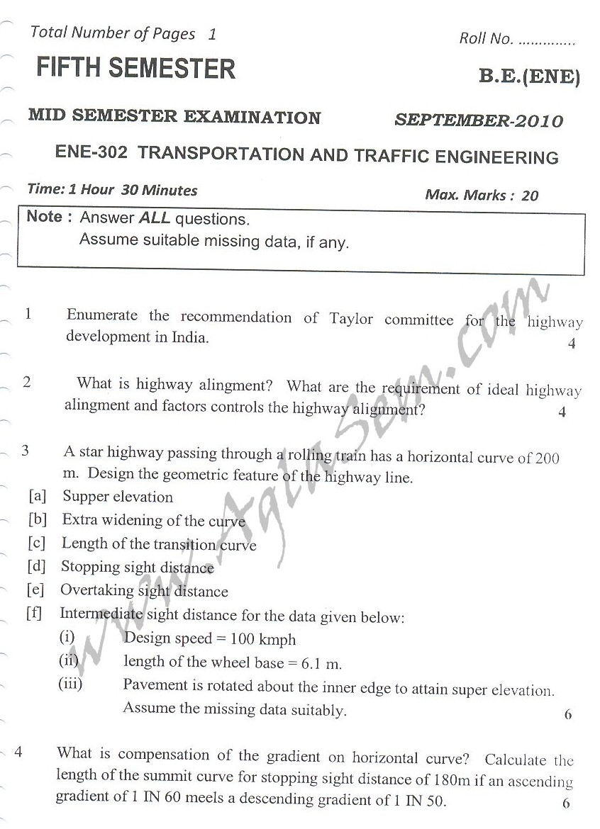 DTU Question Papers 2010 – 5 Semester - Mid Sem - ENE-302