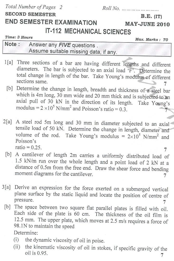 DTU Question Papers 2010 – 2 Semester - End Sem - IT-112