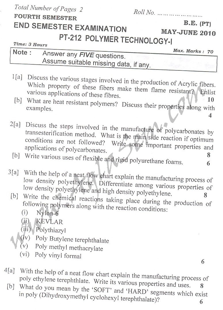 DTU Question Papers 2010 – 4 Semester - End Sem - PT-212