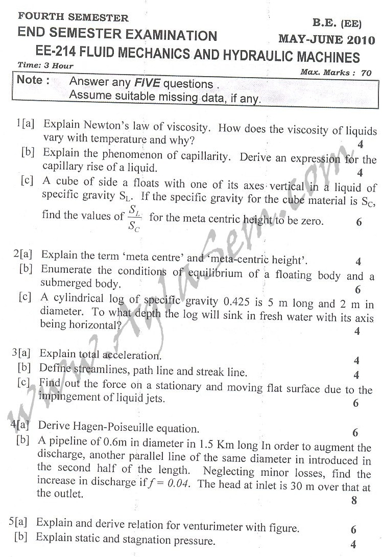 DTU Question Papers 2010 – 4 Semester - End Sem - EE-214