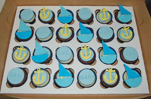 blue and yellow nautical themed baby shower cupcakes