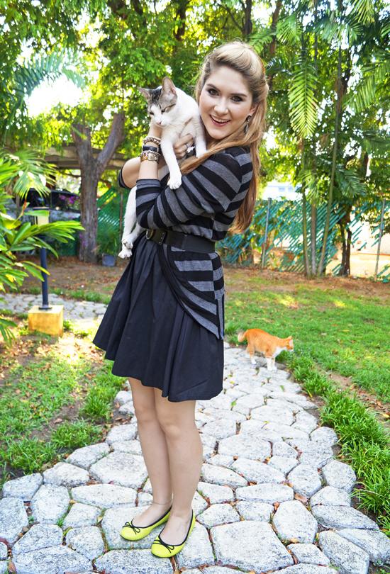 Neon Flats + Black Dress