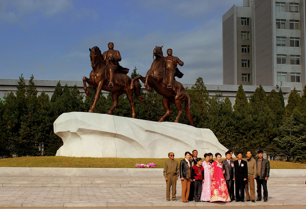STATUES OF THE GREAT LEADERS ON HORSEBACK PYONGYANG CITY DPRK NORTH KOREA OCT 2012