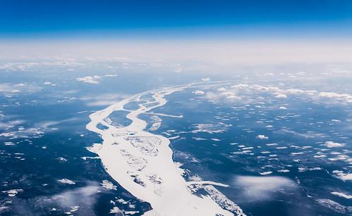 cruise river landscape frozen spring russia district altitude aerial east irkutsk immediate kray angara krasnoyarsk oblast krai kezhma bratsky krasnoyarskiy