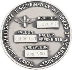 Lot 40086 Apollo 15 medal reverse