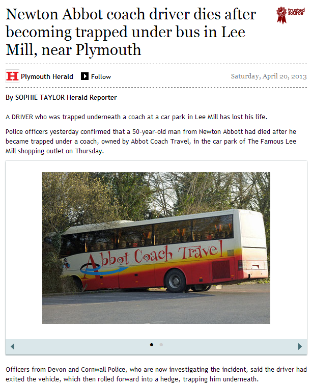 Newton Abbot coach driver dies after becoming trapped under bus in Lee Mill  near Plymouth   This is Plymouth