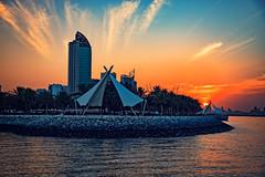 Sunset over Salmiya seaside in Kuwait City