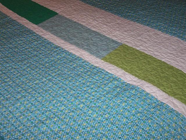Blues Greens Strip Lap Quilt