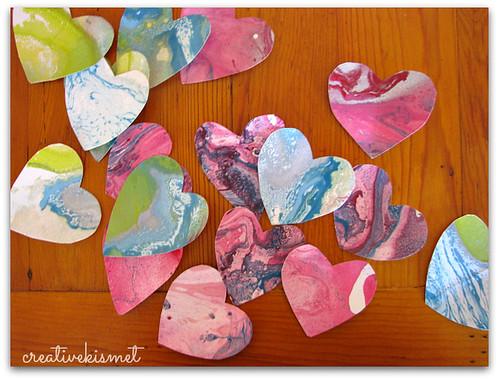 marbleize paper hearts