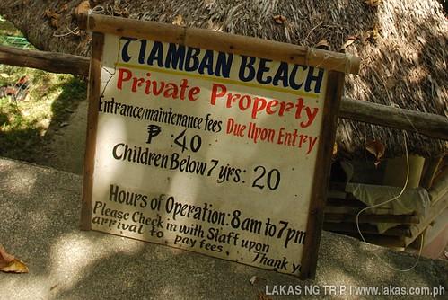 Entrance Fee to Tiamban Beach in Romblon Island, Romblon Province, Philippines