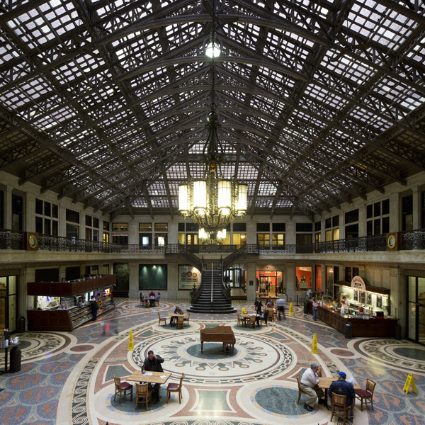 Ellicott Square Building, 1895-56, D.H. Burnham and Co, Floor mosaic by William Winthrop Kent, 1930-31