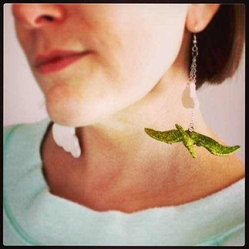 Hot damn! Pterri earrings are now available! (Still ironing out the fascinator details inspired by our favorite green pterodactyl...stay tuned!)