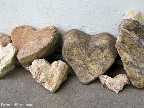 Heart shaped rocks found around the farm - FarmgirlFare.com