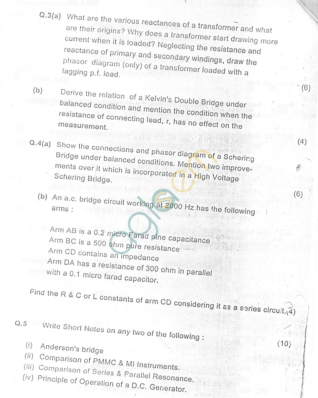 GGSIPU Question Papers Second Semester – Second Term 2007 – ETEC-112