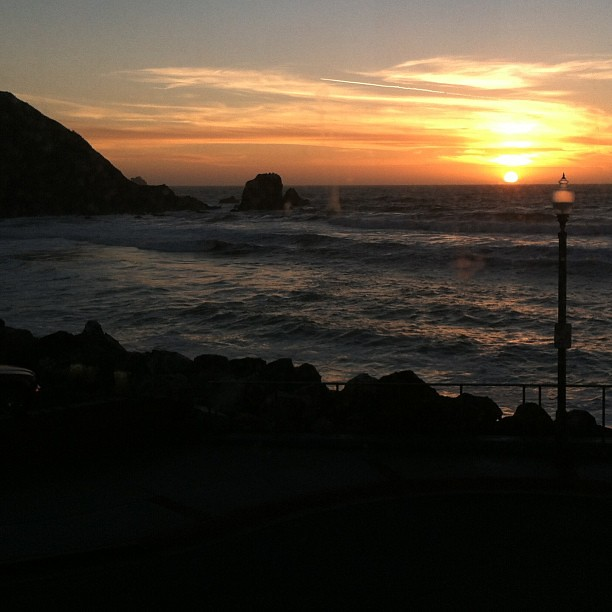 Sidecar and sunset in #pacifica. I love living so close to the ocean!