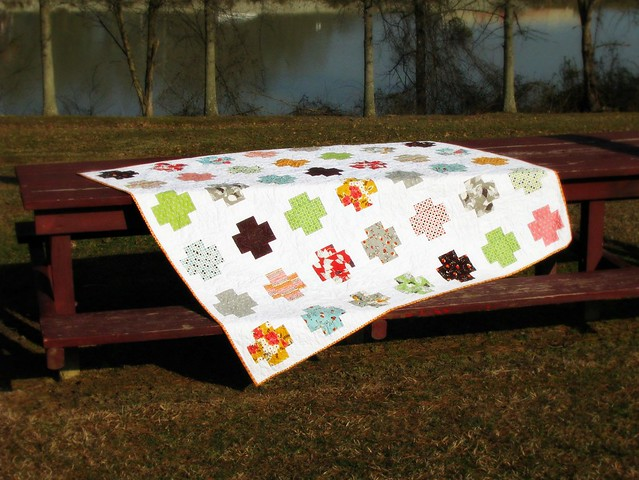 Mom's Flea Market Fancy Cross Quilt Picnic Table