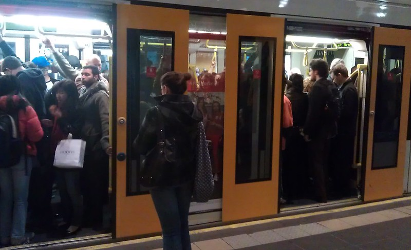 Crowded tram
