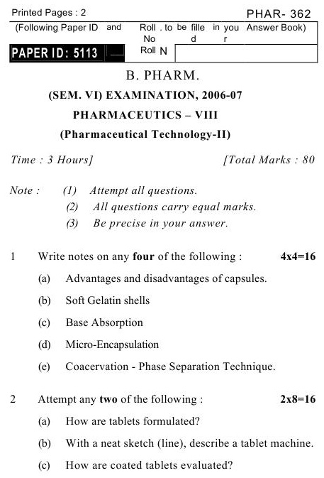UPTU B.Pharm Question Papers PHAR-362 - Pharmaceutics-III