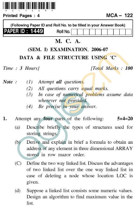 UPTU MCA Question Papers - MCA-122 - Data & File Structure Using 'C'
