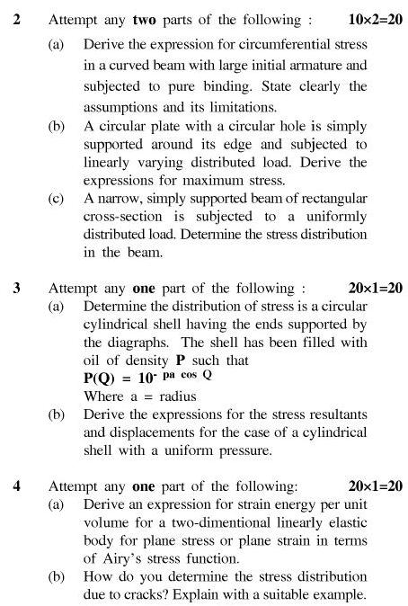 UPTU B.Tech Question Papers - CE-043-Theory of Elasticity & Plasticity