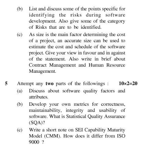 UPTU B.Tech Question Papers - IT-601/TIT-601-Software Project Management
