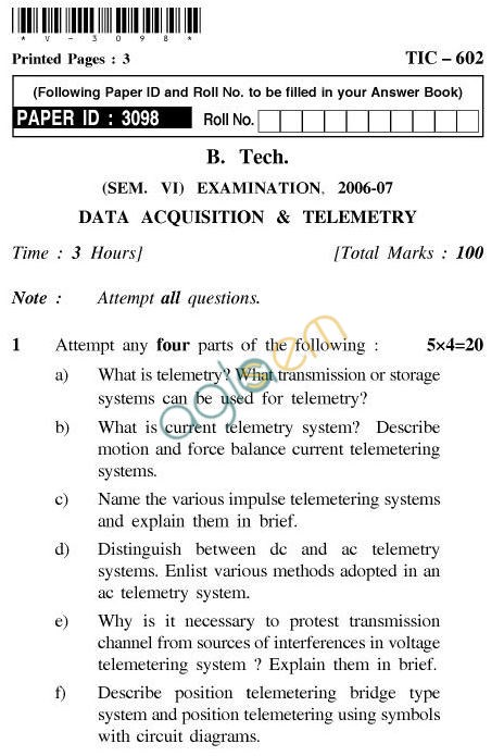 UPTU: B.Tech Question Papers - TIC-602-Data Acquisition & Telemetry