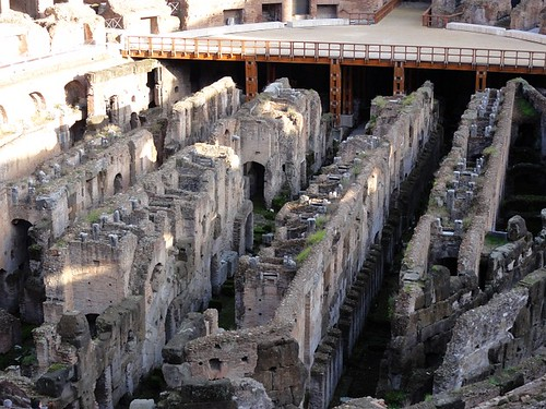 Former underground tunnels in the Colosseum