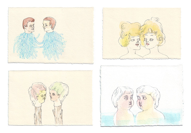 four drawings of twins