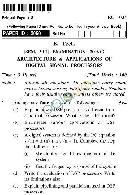 UPTU B.Tech Question Papers - EC-034-Architecture & Applications of Digital Signal Processors