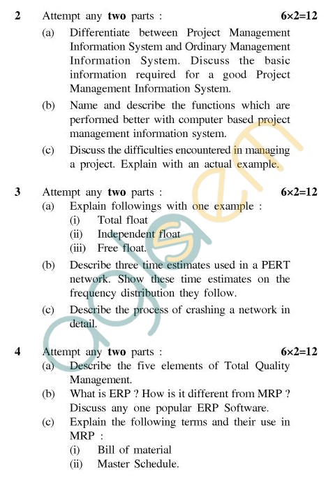 UPTU: B.Tech Question Papers - ME-601 - Project Management
