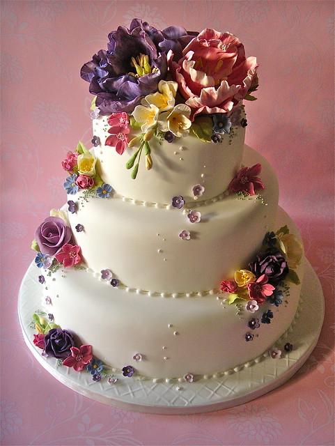 Cottage garden wedding cake flickr photo sharing for Garden wedding cake designs