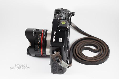 X-Pro 1 with Samyang 8mm f2.8 XF Fisheye side view