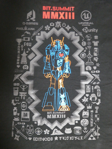 The BitSummit T-shirt back was deliberately designed to include not just video game icons, but references to other parts of Japanese culture.