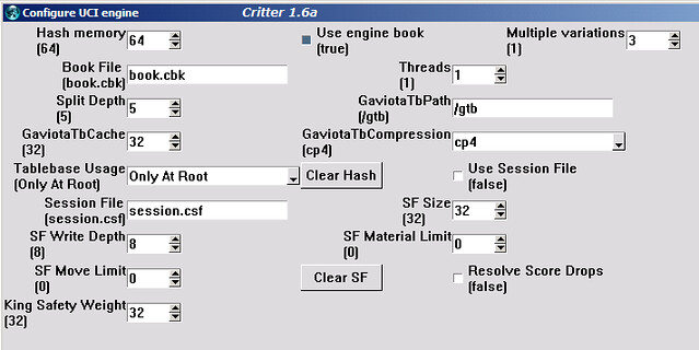 UCI Chess Engine Configuration Parameters