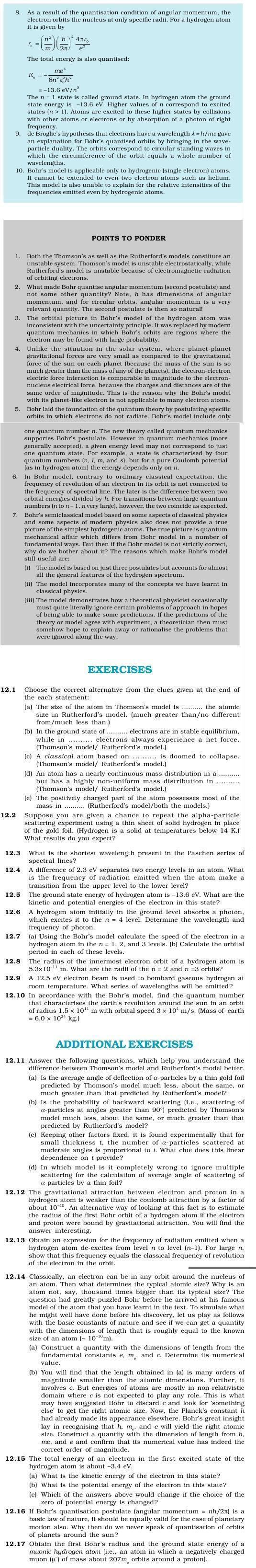 NCERT Class XII Physics Chapter 12 - Atoms
