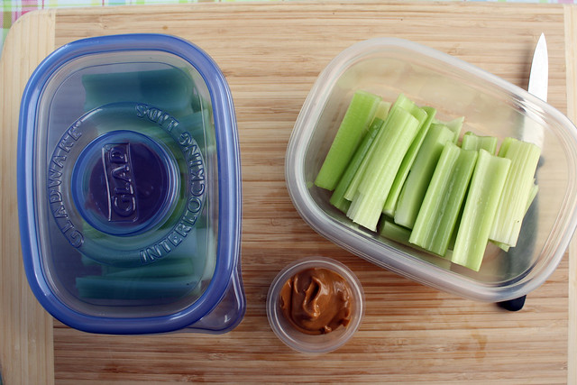 Clean and cut celery, then pack it with peanut butter