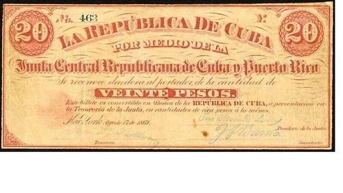 Cuba Military Junta 20 Pesos
