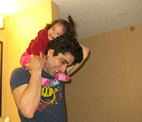 Scarlett On Dad's Shoulders
