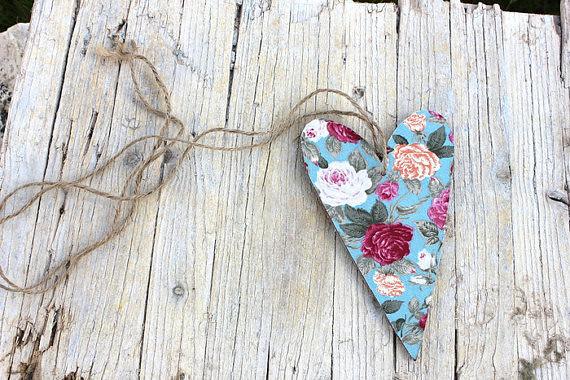 FLORAL HEART - Wedding Wooden Heart - Rustic Bohemian ...