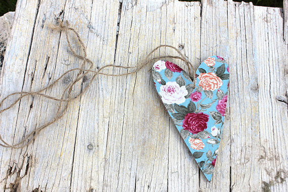 FLORAL HEART - Wedding Wooden Heart - Rustic Bohemian decoration, Choose from 9 fabrics - Wood Shabby Chic wedding decor Wedding Favor