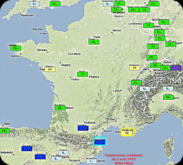 températures maximales lors de la neige dans le Midi le 2 avril 1910 météopassion