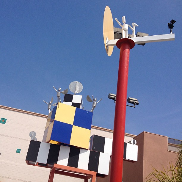 Crazy Peter Shire-esque art in a Home Depot parking lot. Maybe something from the '84 Olympics?