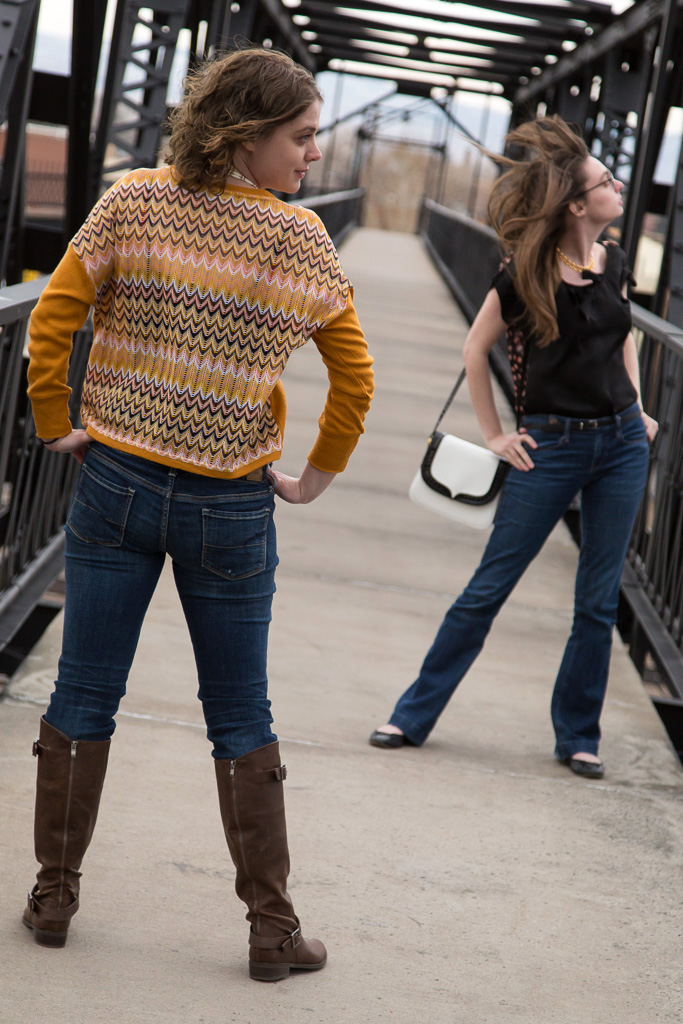 Tulle sweaters, sisters, photo shoot, iron bridge,